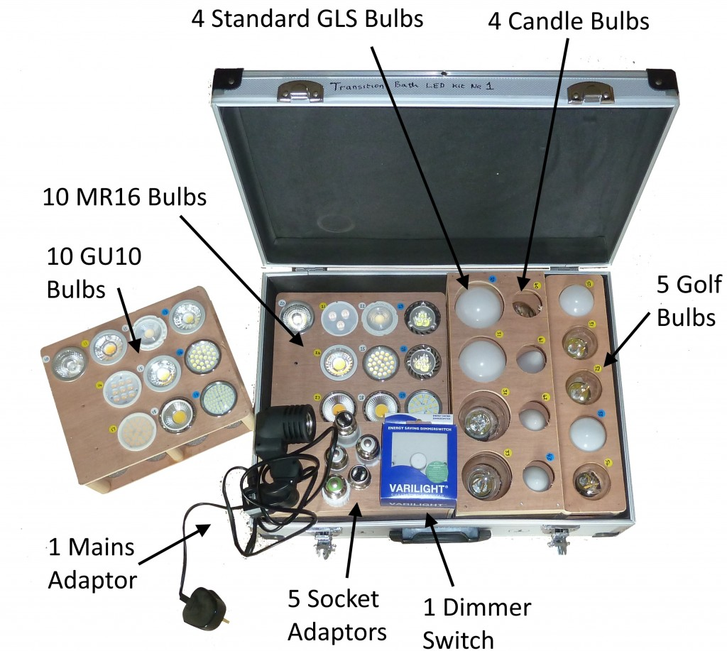 Photo of LED kit contents annotated