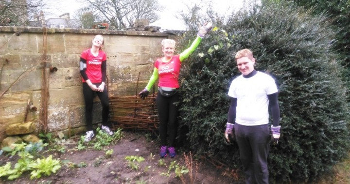 Runners helping maintain Gravel Walk Guerrilla Garden