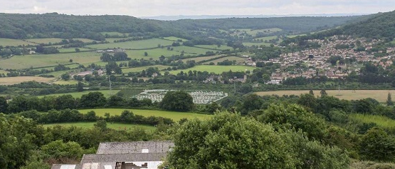 Solsbury Hill View of Eastern Bathampton Park and Ride Jan 2017