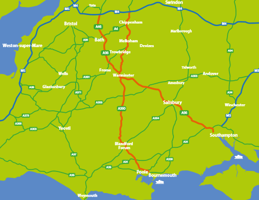 North-South A36 A46 A350 road upgrade mapPNG